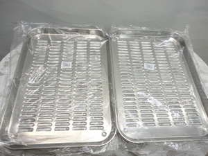 2R16■赤川器物製作所 日本製 18-8ステンレス 水切肉バット 浅型大 2点 未使用品