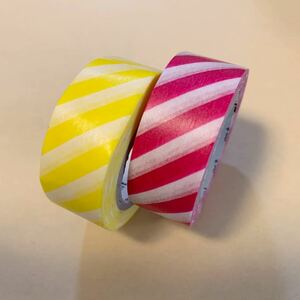 ◆mt マスキングテープ 18mm幅◆2本セット カモ井加工紙 マステ 量り売り イベント 新品 ストライプ・レモン マゼンダ 2個