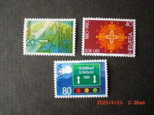 80年スイスの記念切手3種ースイス気象庁100年他 3種完 未使用 1980年 スイス共和国 VF/NH