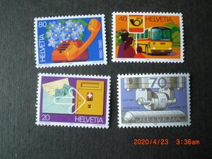 80年スイスの記念切手4種ースイス電話100年他 4種完 未使用 1980年 スイス共和国 VF/NH