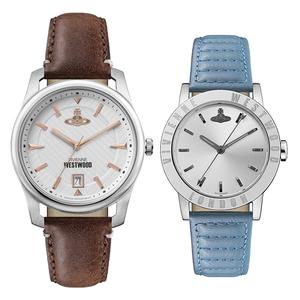 ヴィヴィアン ウエストウッド 腕時計 ペアウォッチ 彼氏 彼女 カップル 40mm/34mm ブラウン ブルー レザー 革ベルト VV185WHBRVV213SLBL
