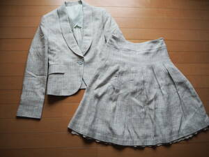 ホワイトジョーラWHITE JOOLA☆ミックスツイードジャケット&スカート☆スーツ♪11号☆新品