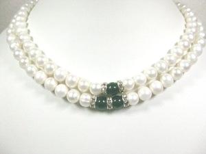 真珠の聖地 美しい2連瑪瑙ホワイト真珠ネックレス