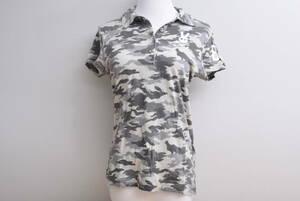 【程度良好 正規品】パーリーゲイツ PEARYGATES レディース 半袖シャツ カモフラ柄 グレー サイズ1 Mサイズ 灰