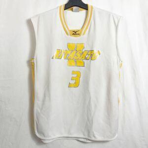 北里大学 バスケットボール部 支給 #3 白 ホワイト 黄 イエロー ミズノ MIZUNO 公式戦用 ユニフォーム Oサイズ