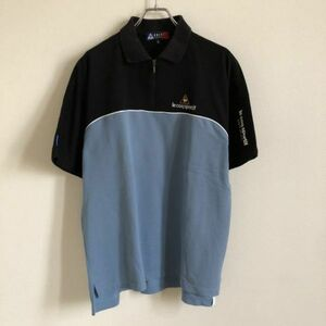 【GOLF】ルコック ゴルフ ハーフジップ 半袖ポロシャツ Mサイズ ブラック×グレー le coq sportif