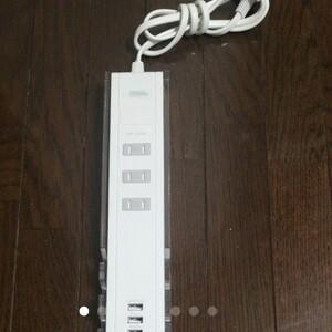 サンワサプライ 3個口便利タップ USB&AC スタンド付