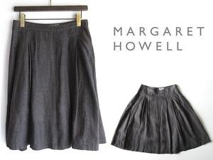 美品 MARGARET HOWELL マーガレットハウエル リネンシャンブレー タックフレアスカート 2 チャコールグレー 日本製 春夏 麻100% MHL.