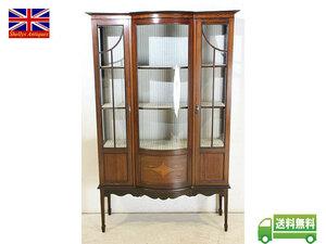 キャビネット アンティーク家具 ce-36 1910年代 イギリス製 アンティーク エドワーディアン サテンウッド ガラスキャビネット 福岡