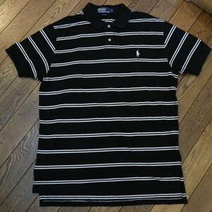 Polo Ralph Lauren 半袖 ポロシャツ L ボーダー ブラック ホワイト ポニー刺繍 ポロ ラルフローレン