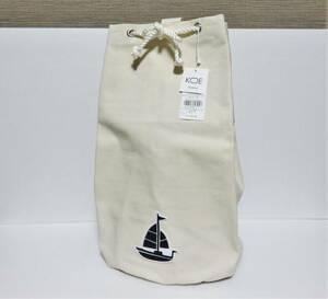 送料無料 新品 koe × THOM BROWNE CANVAS BAG オフホワイト 日本製 コエ トムブラウン セーラー キャンバス バッグ 生成り