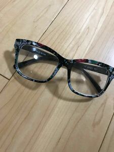メンズ レディース メガネ 伊達眼鏡 オシャレ 花柄 ブラック 黒