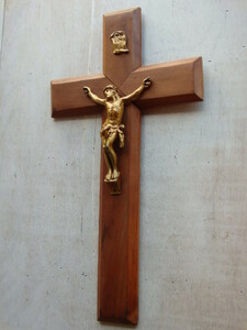 oフランスアンティーク 十字架 クロス 教会 ブロカント 蚤の市 仏 壁掛け ウォール ビンテージ 木製 キリスト
