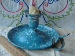 oフランスアンティーク キャンドルスタンド ホーロー エナメル 持ち手付き 取っ手 琺瑯 燭台 蝋燭立て 蚤の市 ブロカント 仏
