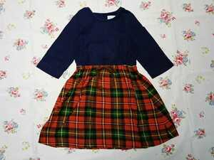 swap meet market スワップミートマーケット チェックのスカートが可愛い七分丈切替ワンピース フィス♪110サイズ