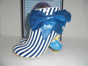 ◆レア 未使用 Irregular Choice イレギュラーチョイス ライチ Disney ふしぎの国のアリス ブーティ 24.5 ブルー ストライプ ブーツ