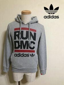 adidas originals RUN DMC アディダス オリジナルス ランディーエムシー スウェット パーカー プルオーバー サイズXS 長袖 グレー Z91244