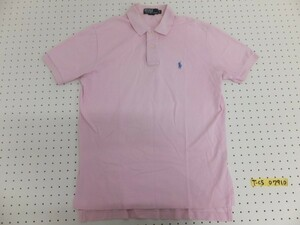 <送料280円>Polo by Ralph Lauren ラルフローレン メンズ ワンポイント刺繍 鹿の子 半袖ポロシャツ M ピンク
