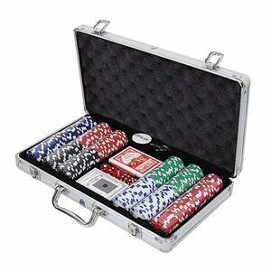 送料無料 アルミケース入り 本格派 ポーカーセット チップ300枚付属 ラスベガス マカオ ルーレット バカラ ダイス IR サイコロ ZA-378