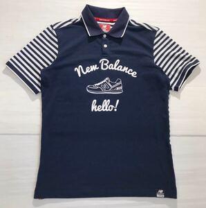 《NEW BALANCE ニューバランス》ロゴ刺繍 ビッグロゴ スニーカープリント ボーダー切替 半袖 ポロシャツ ホワイト×ネイビー 5