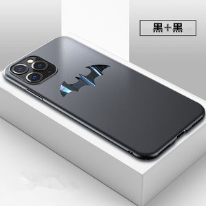 バットマン iphone11 ケース PC 耐衝撃 超薄い 艶消し 手に馴染み マット アイフォンカバー かっこいいコウモリマーク 黒+黒