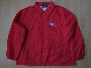 90's USA製 SMP オールド ナイロン コーチ ジャケット L レッド系 エスエムピー ブルゾン スノーボード ビッグシルエット オーバーサイズXL