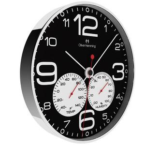壁掛け時計 イギリスデザイン Oliver Hemming オリバー・ヘミング W300S51BWTW 摂氏温度計 湿度計 おしゃれ 引越 新築 祝い プレゼント