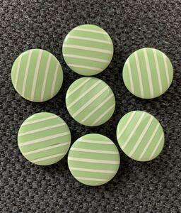 7個セット ボタン ハンドメイド リメイク 手作り ノスタルジック ナチュラル 子供 コレクター 入学 入園準備 昭和レトロ 緑 ストライプ