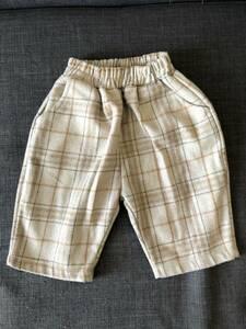 海外 子供服 paul&J no.5 premium brand ベージュ チェック ワイドパンツ ズボン ボトムス 男の子 90