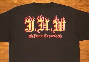 新品 ポニーエクスプレス ヘビーコットン生地 プリント 半袖 Tシャツ 【JHW FLAMES】 (Sサイズ/黒×赤黄) フレイムス ファイヤーパターン