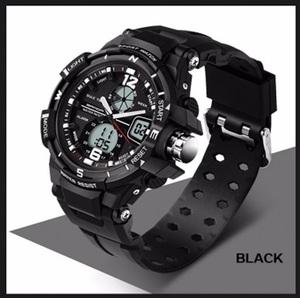■新品■黒 デュアルディスプレイ ダイバーズウォッチ SKMEI Luxuryスポーツ アウトドア ミリタリー