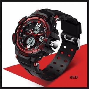 ■新品■赤 デュアルディスプレイ ダイバーズウォッチ SKMEI Luxuryスポーツ アウトドア ミリタリー