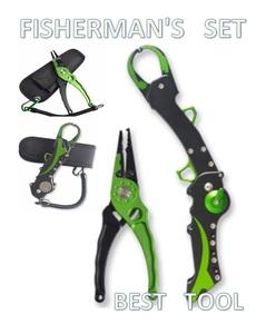 ■高級モデル■フィッシュグリップ フィッシングプライヤー セット 折り畳み ステンレス アルミ製 スパイラルコード 専用ケース付 緑