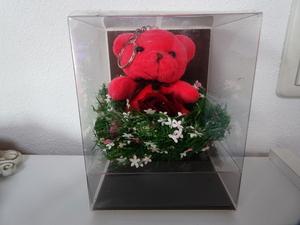 未使用 ブリザードフラワー クマ レッド 薔薇 キーホルダー 熊 赤 飾り インテリア 母の日 花