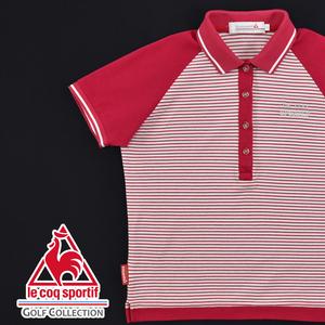 送料300円│Le coq sportif GOLF ルコック ゴルフ ★ QGL1737 ボーダー 半袖 ポロシャツ 赤×白 レディース M
