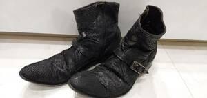希少 ロベルトゲリーニ ROBERTO GUERRINI 本革 総パイソン革 デザイン ブーツ 41 ブラック 黒 パイソン ヘビ革