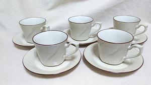 【コーヒーカップ、ソーサー】『良品』 GENUINE STONEWARE ノリタケ 5客セット 喫茶風 ・(管理)200410-0430-3