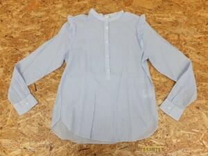 〈送料280円〉H&M レディース ストライプ 肩フリル ノーカラーシャツ 38 水色白