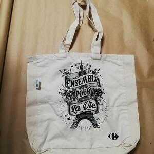 ★ 新品 エコバッグ 鞄  海外 コットンバッグ 白色 トートバッグ  エコバッグ  カルフール  海外限定 フランス