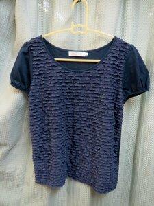 ◆Couture Brooch クチュールブローチ 紺色系 Tシャツ ブラウス◆サイズ38