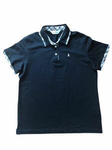 C 美品 Munsingwear マンシングウェア ポロシャツ ゴルフウェア サイズLL 黒 ブラック バイアスチェック スポーツ