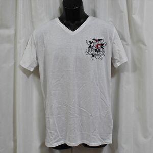 エドハーディー ED HARDY メンズ半袖Tシャツ Lサイズ ホワイト NO72 新品 Vネック