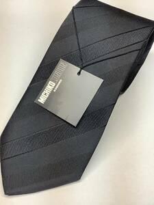 新品ミチコロンドン日本製ネクタイ 濃紺の無地ソリッド風ストライプ織柄 シルク100%お買い得サービス