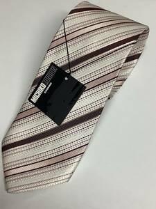 新品ミチコロンドン日本製ネクタイ オフホワイトとピンクの綺麗なコンビストライプお買い得サービス シルク100%京都織物