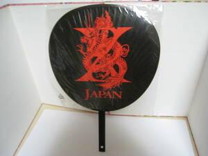 ☆X-JAPAN うちわ(レッド・WORLDTOUR LIVEINYOKOHAMA ・中古未使用