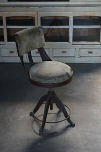 古い鋳物鉄脚の回転椅子 / 古家具 アンティーク チェア レトロ 古家具 工業系 インダストリアル