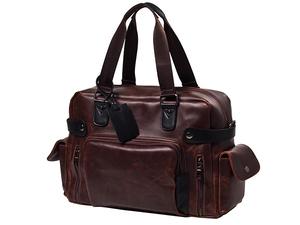 MY BAG ボストンバッグ トートバッグ 旅行鞄 大容量 上質厚手PUレザー メンズ 2WAY ショルダー付き 旅行 4日3泊 14インチPC A4書類収納可