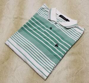 ☆ルコック ゴルフ☆半袖 ポロシャツ L 白×緑系 ボーダー デサント QG1810