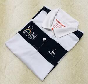 【送料無料】☆ルコック ゴルフ☆レディース 半袖 ポロシャツ S 白×紺系 ボーダー メッシュ QGL2614