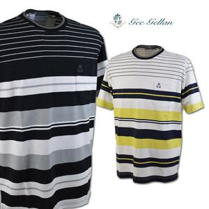 30%OFF【ゲラン】メンズ 半袖Tシャツ (48)LL 白×黒×グレー 3210-2592-21 GEE GELLAN カジュアル 高級素材 日本製 大きいサイズ @
